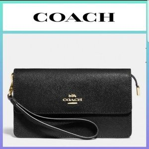 COACH Foldover Wristlet Black Crossgrain Leather